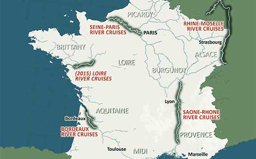River cruises in France map