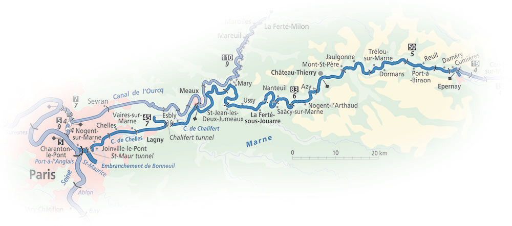 River Marne waterway strip