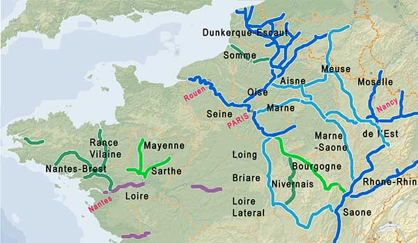 French waterways network map - depths and heights