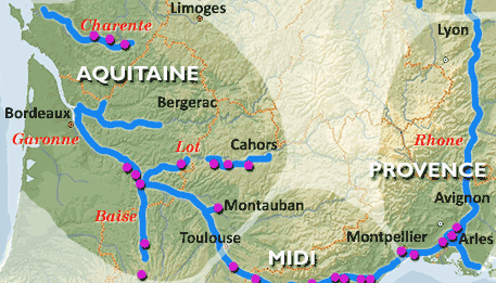 Waterway Map Aquitaine