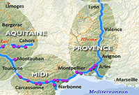 Midi and Provence Regions - hire boat bases