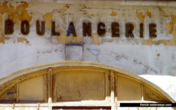 Carcassonne, Canal du Midi - old boulangerie shop signs