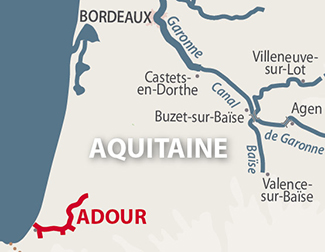Adour region map