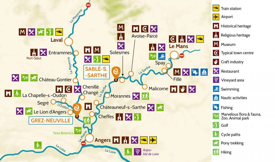 Map of Anjou for family friendly boating holidays