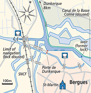 Bergues junction Plan canals