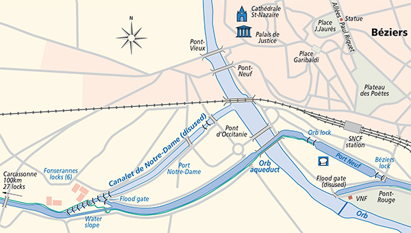 Junction Plan Beziers Canal du Midi
