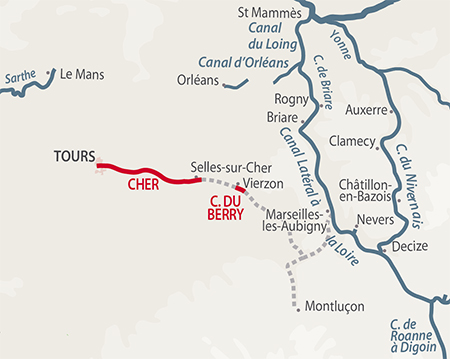 Cher canal de berry region map