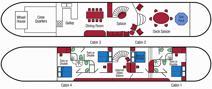 Hotel Barge Enchante - floorplan Burgundy