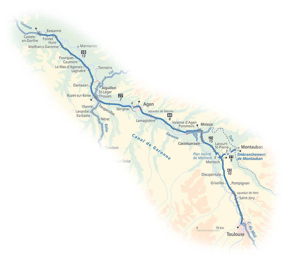 Canal de Garonne Waterway Map