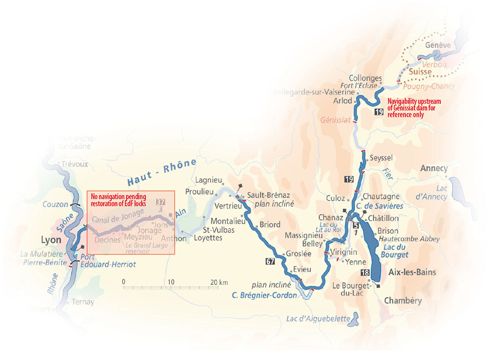 Upper Rhone map
