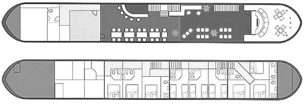 Hotel Barge Le Phenicien deck plan Provence and Camargue
