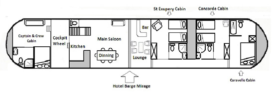Hotel Barge Mirage Deck plan Canal du Midi