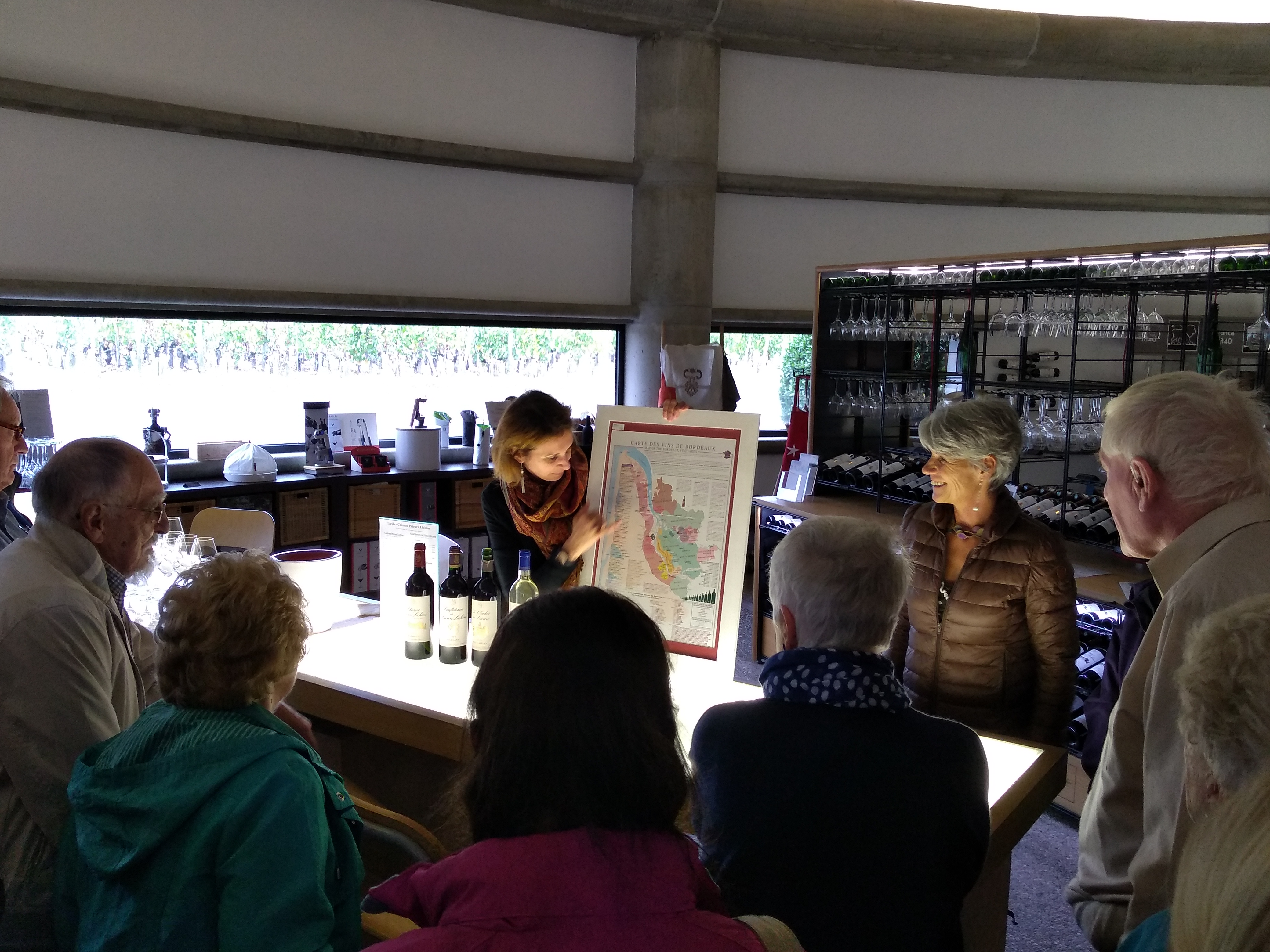 Marion leads the wine tasting at Chateau Prieure Lichine