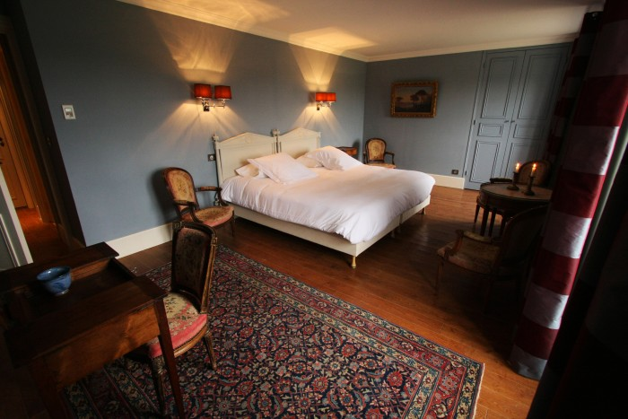 One of the bedrooms at Chateau Pennautier