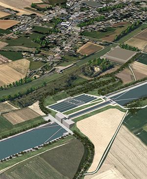 Artist's impression of the deepest lock at Moislains with its five levels of water-saving basins, to be reproduced in the foreground by about 2035 when the second chamber is expected to be required.
