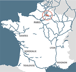 Canal de l'oise a l'aisne location map France