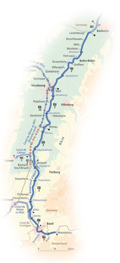 Rhine Waterway map