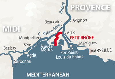 Petit Rhone region map