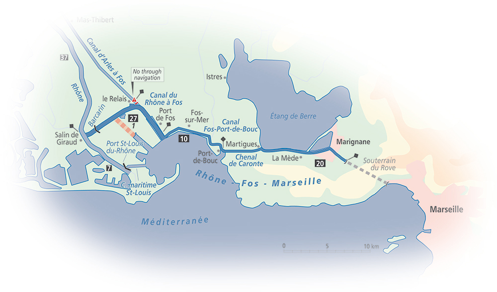 Marseille Map Of France.Rhone Fos Marseille Canals Detailed Guide And Maps French Waterways