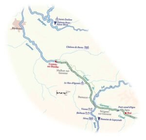 Hotel Barge Rosa Wine Cruise Map Aquitaine Bordeaux