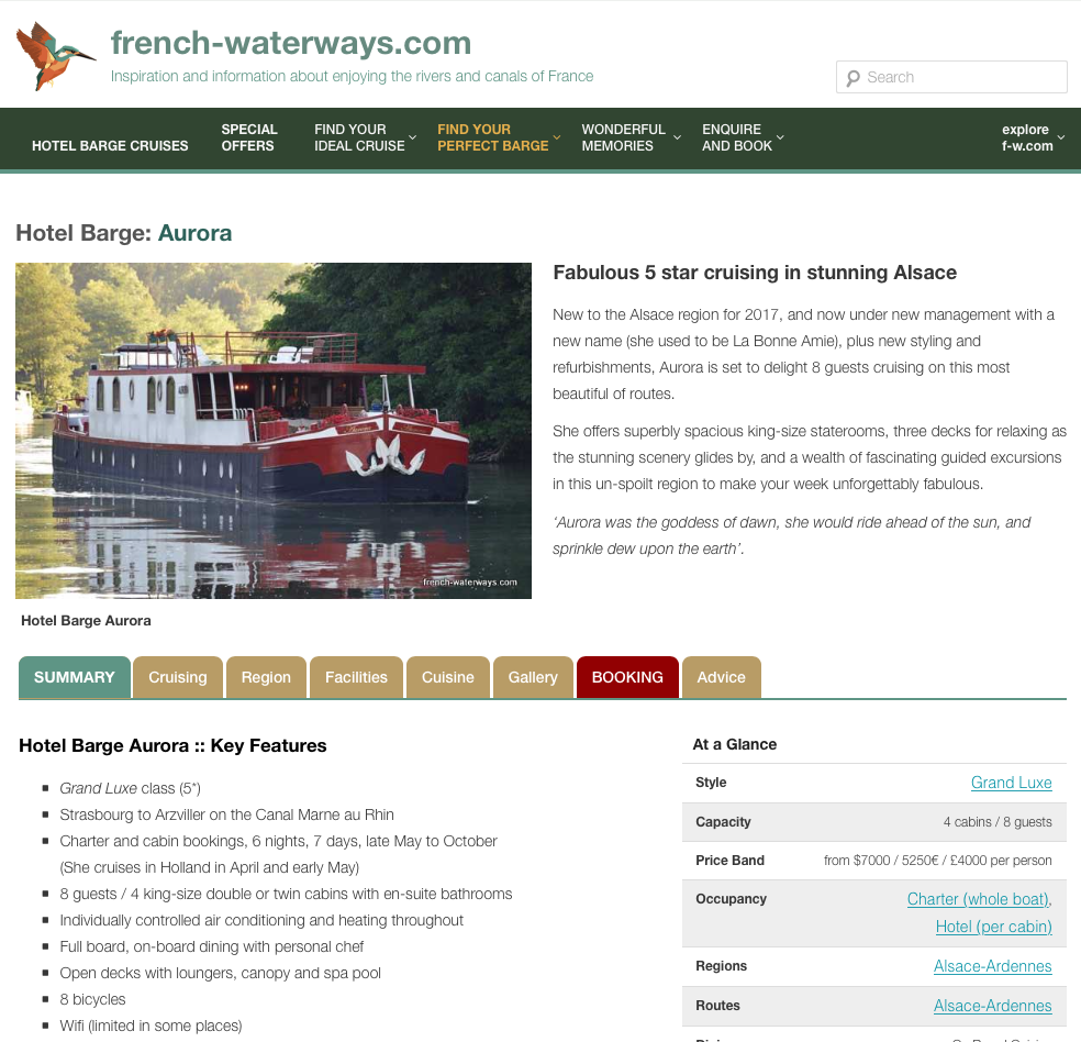 New look hotel barge detail page