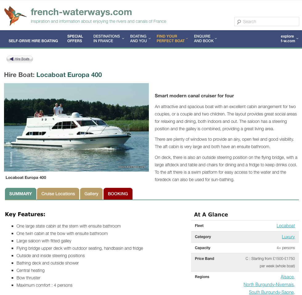 new look hire boat detail page
