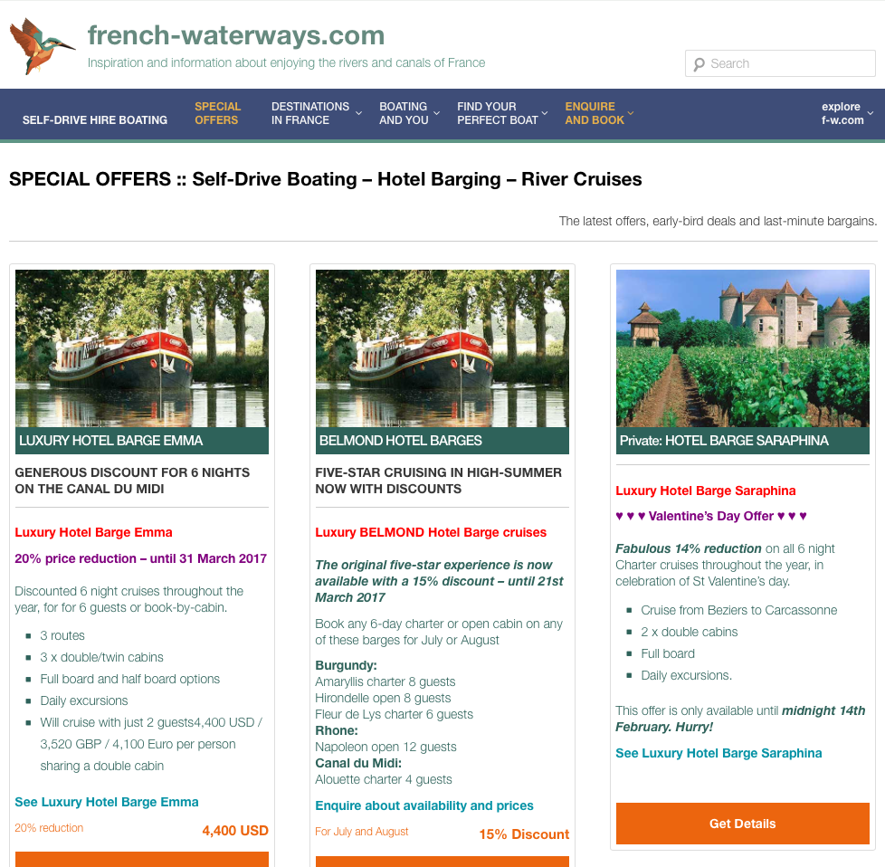 special offers, deals and discounts page