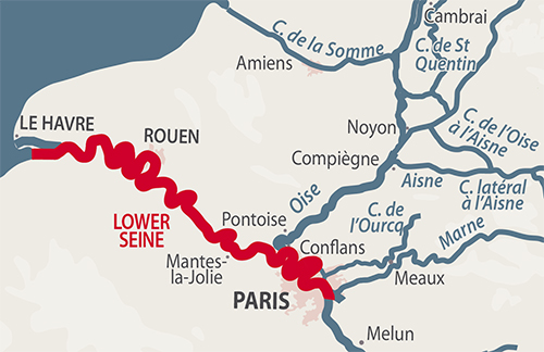 Lower Seine region map
