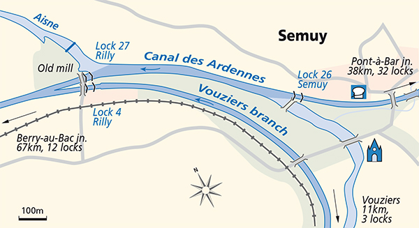 Semuy Canal des Ardennes junction plan