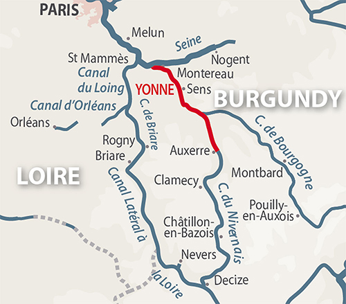 Yonne region map