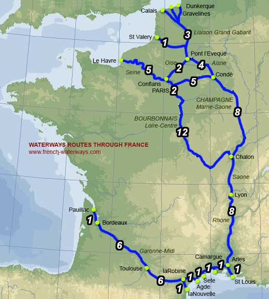 Map Of North France.Navigation Information Canal Routes To The Mediterranean French