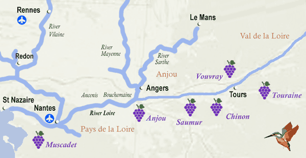 Loire wine map