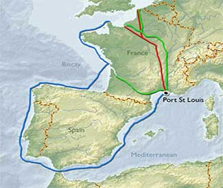 Mediterranean Routes through French canals map