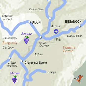 Dijon Burgundy map french-waterways.com