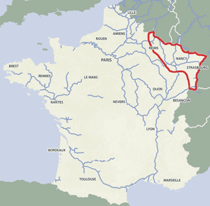 French waterways rivers canals map Alsace Strasbourg