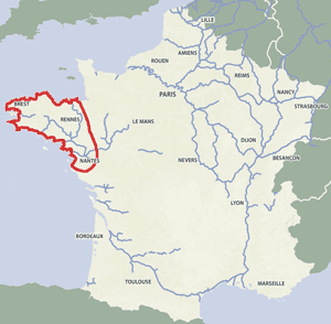 French waterways rivers canals map Brittany
