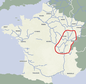 French waterways rivers canals map Burgundy Saone